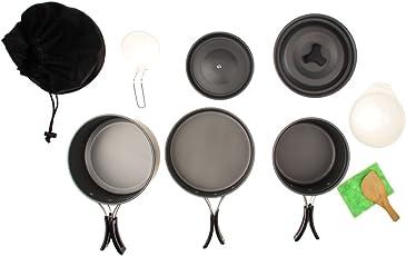 Magideal Portable Outdoor Camping Cooking Cookware Set Anodised Aluminium Pot Pan