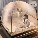 GANGYAPP Moskitonetz Bett Baldachin 3 Tür Pop UP Mesh Insektennetz, Feinmaschig Mesh, Mückennetz Für Reise Und Zuhause, Keine Chemikalien, Einfache Anbringung,Gray,2.0m*1.8m*1.7m