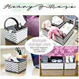 HENRY and ROSE ®️ Storage Underwear Drawer Organiser, Collapsible Foldable Fabric, Wardrobe Cube Dividers for Bras, Socks, Underwear, Ties, Belts, Set Of 6, Grey Stripe