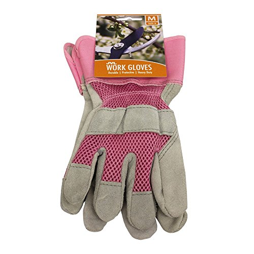 JVL Paar Rigger Leder Stoff Work Garten-Handschuhe–Größe 8/Medium, Pink