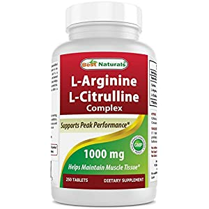 51qjRkh57HL. SS300  - Best Naturals L-Arginine L-Citrulline Complex 1000 mg 250 Tablets