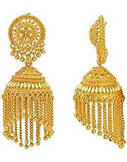 MissMister Yellow Gold-plated Brass Traditional Earrings Jhumka for Men and Women