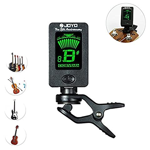 Yakamoz LCD Clip on Tuner for Acoustic Electric Guitar Bass Violin Ukulele,360 degree Rotational Electronic Digital Tuner