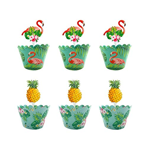 Sayala 48 Stücke Hawaii Cupcake Toppers und Wrappers Flamingo/Ananas Muffin Backen Hüllen Kuchen Dekoration für Luau-Beach-Party,Kinder Party Kuchen Dekorationen Geburtstag Deko