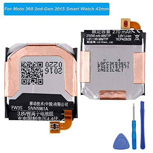 E-yiviil - Batteria di ricambio FW3S compatibile con Moto 360 2nd-Gen 2015 SNN5971A Smart Watch 42 mm con strument