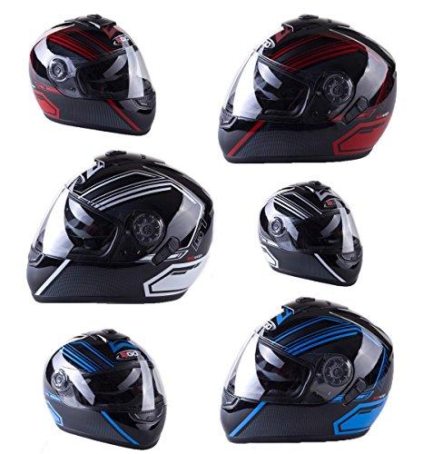 3go-e5 nuovo stile caschi moto casco moto scooter sportivi touring casco integrale motocicletta casco da corsa (rosso, xs (53-54cm))