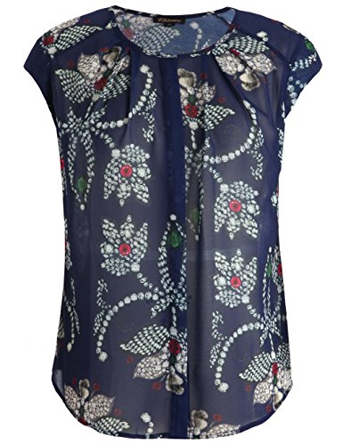 Chicwe Damen Große Großen Blumen Bluse Tunika mit Hals Flowy Falten Marine 3X (Scoop Kleid Neck Knit)