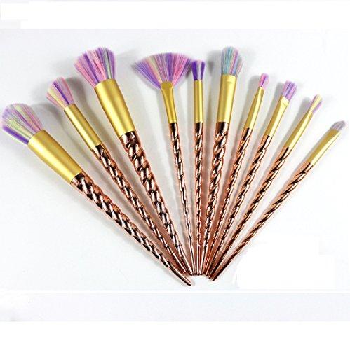 10 Pcs Multicolor Premium cepillos de Seda sintéticas suaves cepillos de maquillaje coloré unicornio Fundación Eyeliner Eyeliner cepillo de sombra de ojos Cosmetic conceler Brushes Kit (10 Pcs)