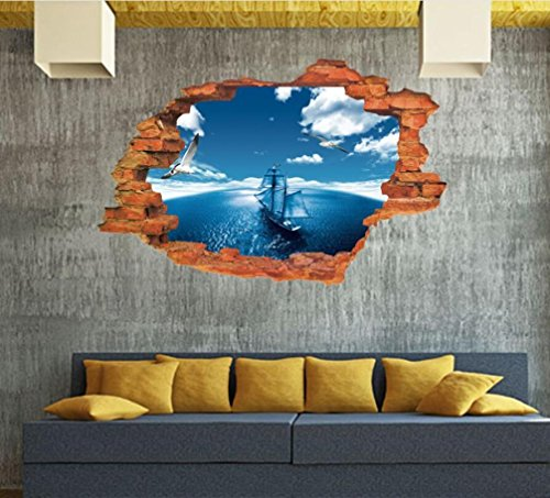 wandaufkleber wandtattoos Ronamick 3D Boden / Wandaufkleber Removable Decals Vinyl Art Wohnzimmer Dekore Wandtattoo Wandaufkleber Sticker Wanddeko (25) (Vinyl-wohnzimmer)