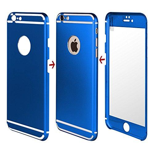 7-Tigers - Cover anteriore e posteriore per iPhone 6 / 6S Plus (5,5''), 360°, in metallo alluminio