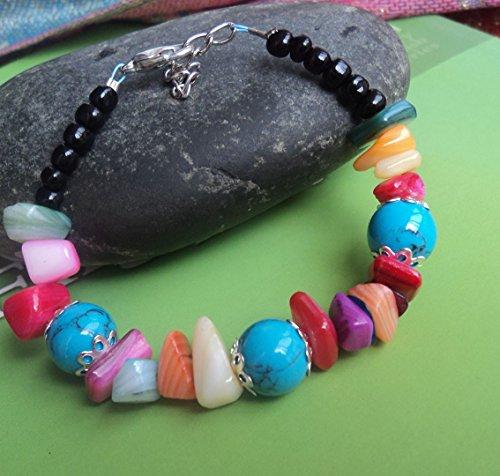 nischen Schmuck Zubehör Hand String Schmuck Süße farbigen Steinen Armband Geschenk Blau 117 (Farbigen Glas-steinen Blau)
