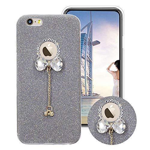 Glitzer Bling Hülle für iPhone SE/5S/5, Obesky Weich TPU Silikon Handyhülle Luxus Diamant Bow-knot Anhänger Designer Schutzhülle für Apple iPhone 5/5S/SE, Grau (5 Bow Bling Iphone Cases)