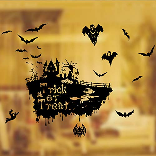 Fliegende Bat Hexe Schädel Wandaufkleber Happy Halloween Tag trick or treat Fenster Dekoration Festival Wandtattoos Poster 100 * 70 cm (Halloween-tag Or Trick Happy Treat)