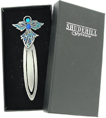 SHJ Jewel Pewter Angel Bookmark - Aqua-Blue