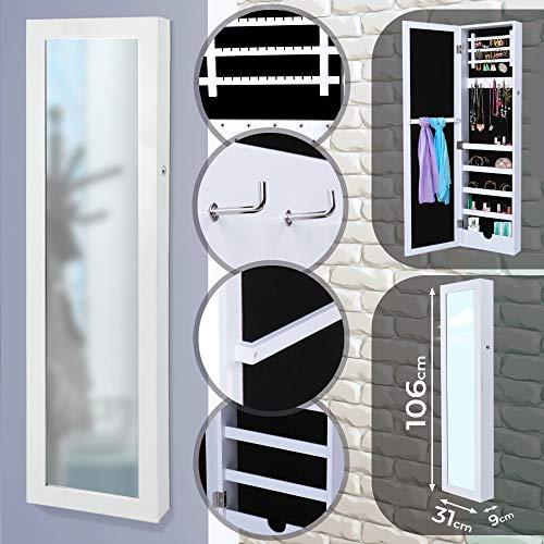 MIADOMODO Espejo Joyero de pared | 110 x 30 x 9