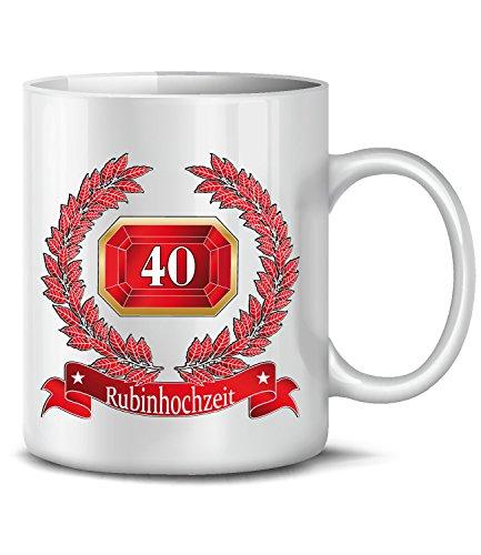 Golebros Hochzeitstag Rubinhochzeit 40 Jahre Ehe 956 Deko Tasse Becher Hochzeitsjubiläum Kaffee Hochzeitstassen Geschenke Männer Frauen Paare Jubiläum Weiss
