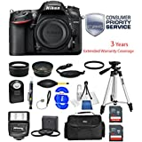 Nikon D7200 24.2 MP DX Format DSLR Camera Black ( Body Only) 1554 (USA) - Full Accessory 3 Year Extended Bundle Package Deal