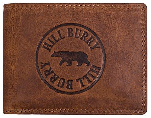 Hill Burry Herren Geldbörse | echt Leder Vintage Portemonnaie - aus hochwertigem weichem naturgegerbtem Voll-Leder | Brieftasche Portmonee Geldbeutel Kredit-Kartenetui Wallet - Querformat (Braun)