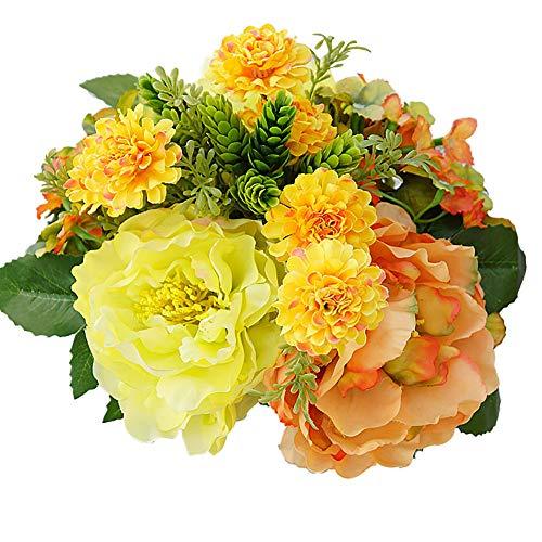 Austinstore 1Bouquet de fleurs artificielles hortensia pivoine artificielle pour décoration de maison jaune