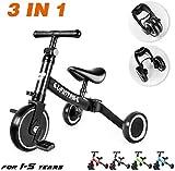 Besrey 3 en 1 Tricycle Vélo Draisienne pour Enfant, Avec Hauteur Réglable...