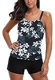 AYEABUY Frauen Plus Size Floral Halfter Tankini Set mit Boyshort zweiteiligen Badeanzug (EU ( 42-44 ), 3BluePHP)