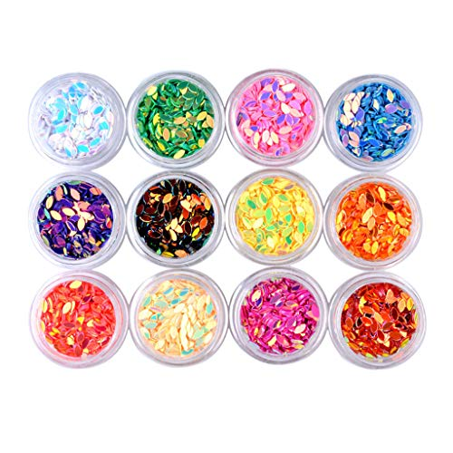 (B Blesiya 12 Boxen Strass Glitzer-Staub Nail Art Glitter Metallische Pailletten Aufkleber für Make-up und Nagelkunst - wassertropfen)
