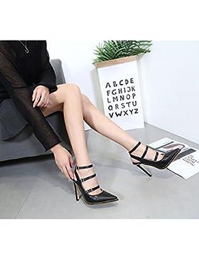 KHSKX-Correas Cruzadas 8.5 Cm Zapatos Negros Zapatos De Punta Superficial Boca Todos Coinciden Con Tacones De...