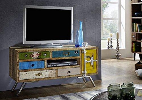 Meuble TV - Bois massif de manguier laqué - Imprimé Multicolore - Style Urbain - LIVERPOOL #20