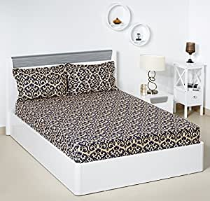 Bombay Dyeing Ambrosia 130 TC Cotton Double Bedsheet with 2 Pillow Covers - Cream and Navy