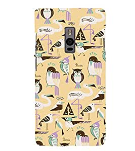 ModernBird and Owl Pattern 3D Hard Polycarbonate Designer Back Case Cover for OnePlus 2 :: OnePlus Two