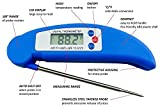 Picture Of AVAX DT-X - Folding Digital LCD Food Thermometer Kitchen Cooking Probe for Wine, Food, Meat, Steak, Turkey, BBQ, Yerba Mate, Milk, Sugar, etc. - Temperature range: -50C to 300C / -58F to 572F - BLUE