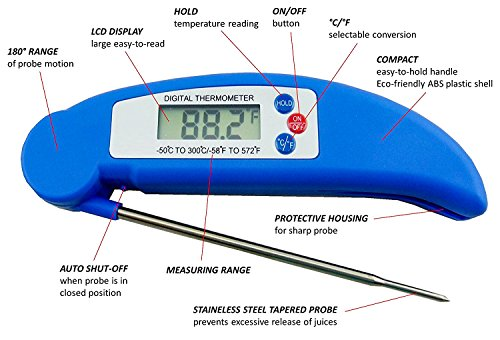 AVAX DT-X - Digitales LCD Klapp-Thermometer Haushaltsthermometer Kochthermometer Einstichthermometer Küchenthermometer Lebensmittelthermometer (einsetzbar für Kochen, Braten, Grillen/BBQ, Backen, Wein, Bier, Fleisch, Fisch, Teewasser, Yerba Mate, Milch, Zucker, usw.) // -50C to 300C / -58F to 572 // - BLAU