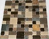 Fliesen Mosaik Mosaikfliese Beige Grau Glas Stein Küche WC Bad 8mm Neu #HO22