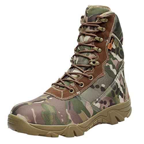 JUNMAONO Zapatos de Hombre Botas Combate Ejército Botas Militares Botas Piel Combate con Cremallera Lateral Botas Tácticas Ultra-Ligero Antideslizante Tela de Cuero Verdadero Transpirable Camuflaje