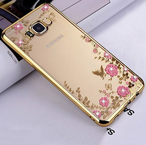 JAWSEU Samsung Galaxy S8 Plus Coque Transparent Glitter,Samsung Galaxy S8 Plus Etui en Silicone Clair avec Pailletee,Brilliante Bling Étoile Perles Soft Tpu Case Cover,Ultra Slim Sparkle Scintillant F une fleur/or