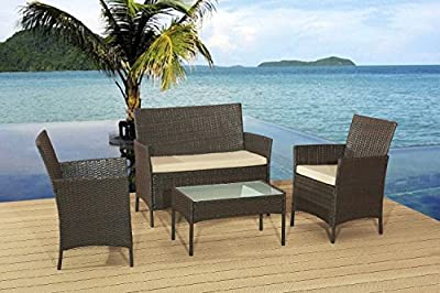 Classic Garden Rattan Furniture Set Sofa, 2 Chairs, Coffee Table
