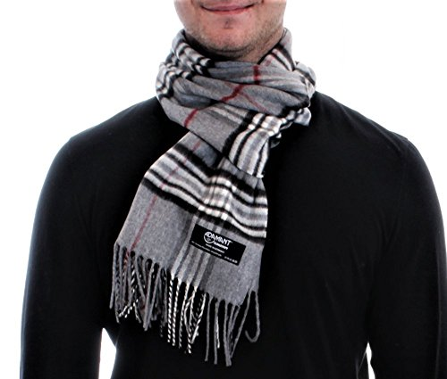 ADAMANT® Climasoft Schal Herren   MADE IN GERMANY   verschiedene Muster, 180cm x 30cm - Modischer Schal für Business und Alltag (hellgrau)