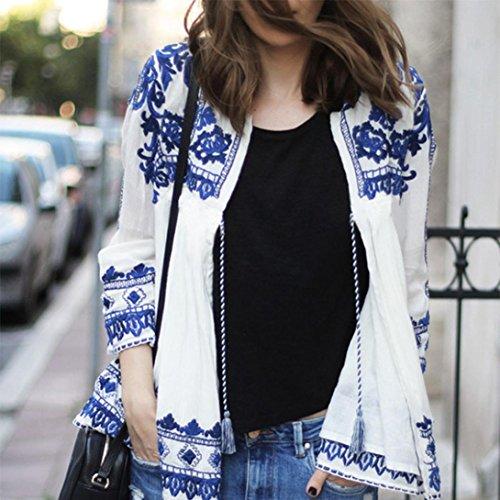 Tefamore Kimono Cardigan Sciolto Scialle Floreale Vintage Boho Top In Chiffon Cardigan Blu