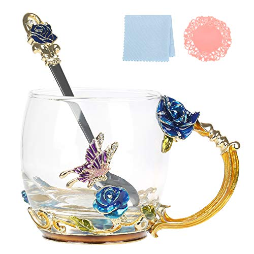 WAYDAY Enamel Glass Mug: Crystal Clear Glass Cup with Enamel Spoon (320ml- Blue Rose), Anti-Slip Coaster &Wipe Cloth - High-Detail Craft Glass Mug Set in A Luxurious Gift-Ready Box