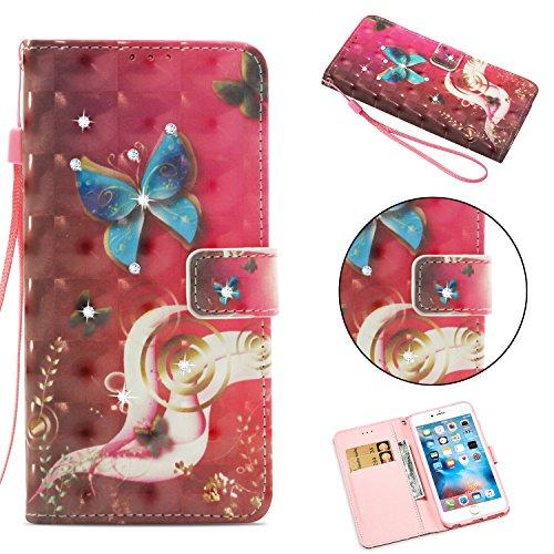 BONROY iPhone 6 Plus/6S Plus Etui Cuir-Etui à Rabat Portefeuille de Carte Slots Support Case Cover Housse - (Forage - Papillon Chaoyang)