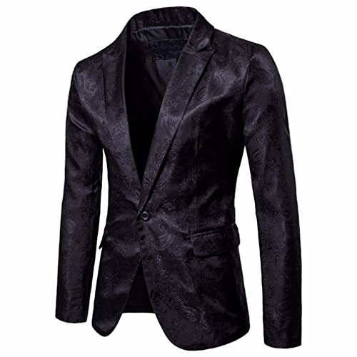 Fashion Charm Men's Long Sleeve Solid Color Slim Fit Blazer Single Breasted One Button Jacket Coat Casual Embossed Soft Cotton British Style Comfy Suit Jackets Tops