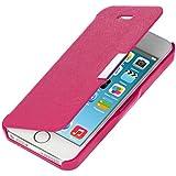 kwmobile Hülle für Apple iPhone SE / 5 / 5S - Bookstyle Case Handy Schutzhülle Kunststoff - Flipcover Klapphülle Pink