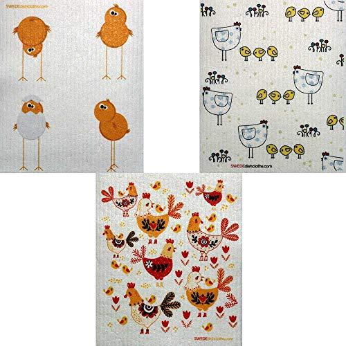SWEDEdishcloths Geschirrtücher, Motiv: Hühner, 3 Stück Vogel-grenze