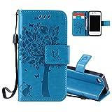 Aeeque Portable Bleu Etui PU Cuir Coque iPhone 5C, Élégant [Chat et Arbre] Motif à...