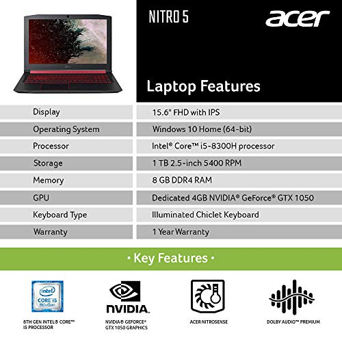 Acer Nitro 5 AN515-52 15.6-inch Laptop (eighth Gen Intel Core i5-8300H/8GB/1TB/Home windows 10 Home 64-bit/4GB NVIDIA GeForce GTX 1050 Graphics) Image 2