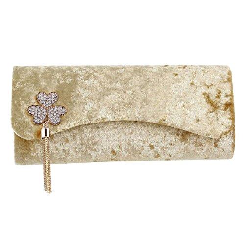 Damara® Distinguiert Damen Partys Dekoration Abendtasche Mit Flanell Gold