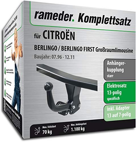 Rameder Komplettsatz, Anhängerkupplung starr + 13pol Elektrik für CITROËN BERLINGO/BERLINGO First Großraumlimousine (113297-01567-1)