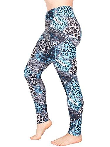 Leggins Damen Leggings leggings mit Muster bunt schwarz weiß elastisch 455 lang 7