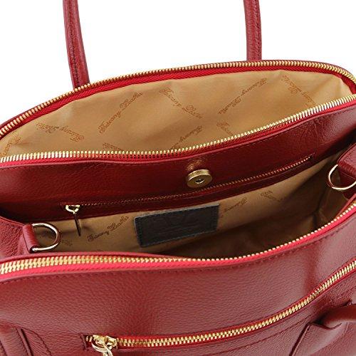 Tuscany Leather TL Keyluck Borsa a mano media in pelle morbida Nude Rosso