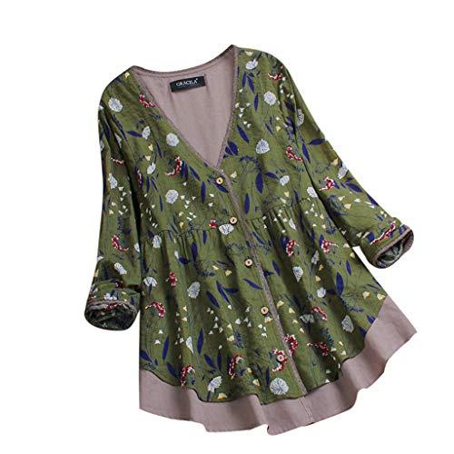 iHENGH Damen Herbst Winter Bequem Mantel Lässig Mode Jacke Frauen geschichtet Floral Print Patchwork Vintage Bluse leicht Spitzen Tops zu verbinden Damen-origami